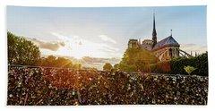 Sunset At Notre Dame De Paris Bath Towel