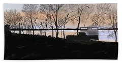 Sunset At Pelican Lake Bath Towel