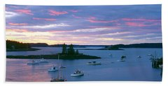 Sunset At Port Clyde Lobster Village Hand Towel