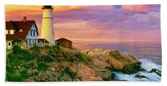 Sunset At Portland Head Hand Towel