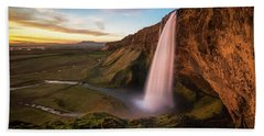 Sunset At Seljalandsfoss Bath Towel