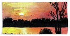 Bath Towel featuring the painting Sunset At Shire River In Malawi by Dora Hathazi Mendes