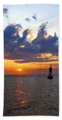 Sunset At The Bell Buoy Bath Towel