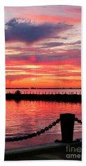 Sunset At The Docks Bath Towel