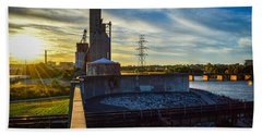 Sunset At The Flood Wall Hand Towel
