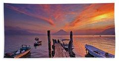Sunset At The Panajachel Pier On Lake Atitlan, Guatemala Bath Towel