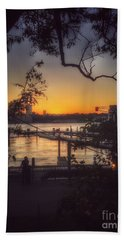Sunset At The Pier Hand Towel by Miriam Danar