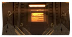 Sunset At The Temple Bath Towel