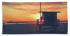 Sunset At Toes Beach Hand Towel