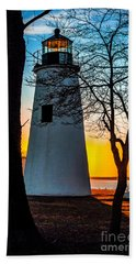 Bath Towel featuring the photograph Sunset At Turkey Point Lighthouse by Nick Zelinsky