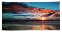 Sunset At Unstad Beach, Norway Bath Towel