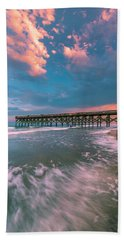 Sunset At Wilmington Crystal Pier In North Carolina Bath Towel