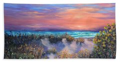 Sunset Beach Painting With Walking Path And Sand Dunesand Blue Waves Hand Towel