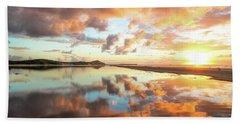 Sunset Beach Reflections Bath Towel