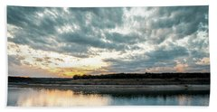 Sunset Behind Small Hill With Storm Clouds In The Sky Bath Towel