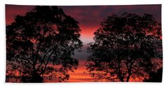 Sunset Behind Two Trees Bath Towel
