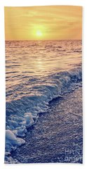 Hand Towel featuring the photograph Sunset Bowman Beach Sanibel Island Florida Vintage by Edward Fielding