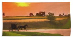 Bath Towel featuring the photograph Sunset Buggy Ride by Joel Witmeyer