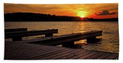 Sunset By The Dock On The Lake Hand Towel