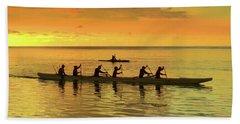 Sunset Canoeists Hand Towel by Scott Cameron
