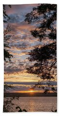 Sunset Caressed By Tree Branch Bath Towel by Mary Lee Dereske