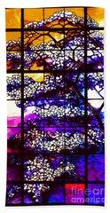 Sunset Dogwoods Neo Tiffany Window Bath Towel