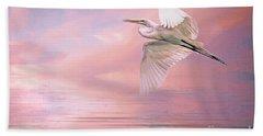 Sunset Egret Bath Towel