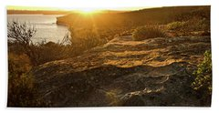 Bath Towel featuring the photograph Sunset Falls Over North Head Rocks by Miroslava Jurcik