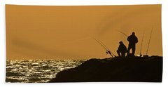 Sunset Fishermen Bath Towel