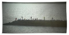 Sunset Fishermen Bath Towel