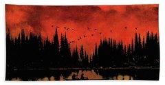 Sunset Flight Of The Ducks Hand Towel