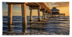 Bath Towel featuring the photograph Sunset Fort Myers Beach Fishing Pier by Edward Fielding