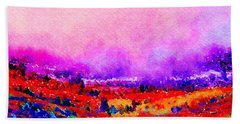 Bath Towel featuring the painting Sunset Hills by Angela Treat Lyon