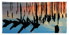 Sunset In Colonial Beach Virginia Hand Towel