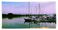 Sunset In The Harbor Bath Towel by Gary Wonning