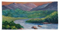 Sunset In The River Hand Towel