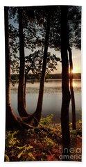 Sunset, Kennebec River, South Gardiner, Maine  -8364-8368 Bath Towel
