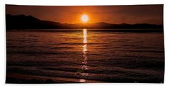 Sunset Lake 810pm Textured Hand Towel