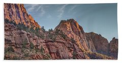 Bath Towel featuring the photograph Sunset Lighting At Zion by James Woody
