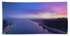 Bath Towel featuring the photograph Sunset Looking From A Bridge by Bruno Rosa