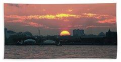 Sunset Nyc Harbor Bath Towel