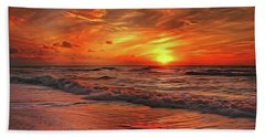 Bath Towel featuring the painting Sunset Ocean Dance by Harry Warrick