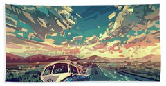 Sunset Oh The Road Hand Towel by Bekim Art