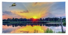 Sunset On A Chesapeake Bay Pond Hand Towel
