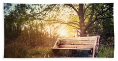 Sunset On A Wooden Bench Bath Towel