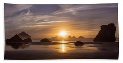 Sunset On Bandon Beach Hand Towel