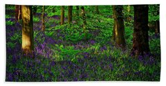 Sunset On Bluebells In Spring Bath Towel