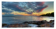 Sunset On Lake Superior Bath Towel
