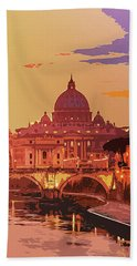 Sunset On Rome The Eternal City Hand Towel