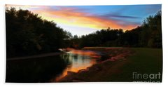 Sunset On Saco River Bath Towel